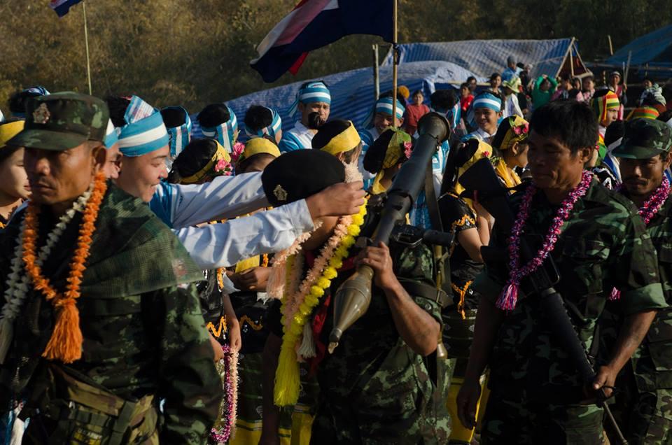 KNLA personnel celebrate Karen Revolution Day. Source: John Arterbury