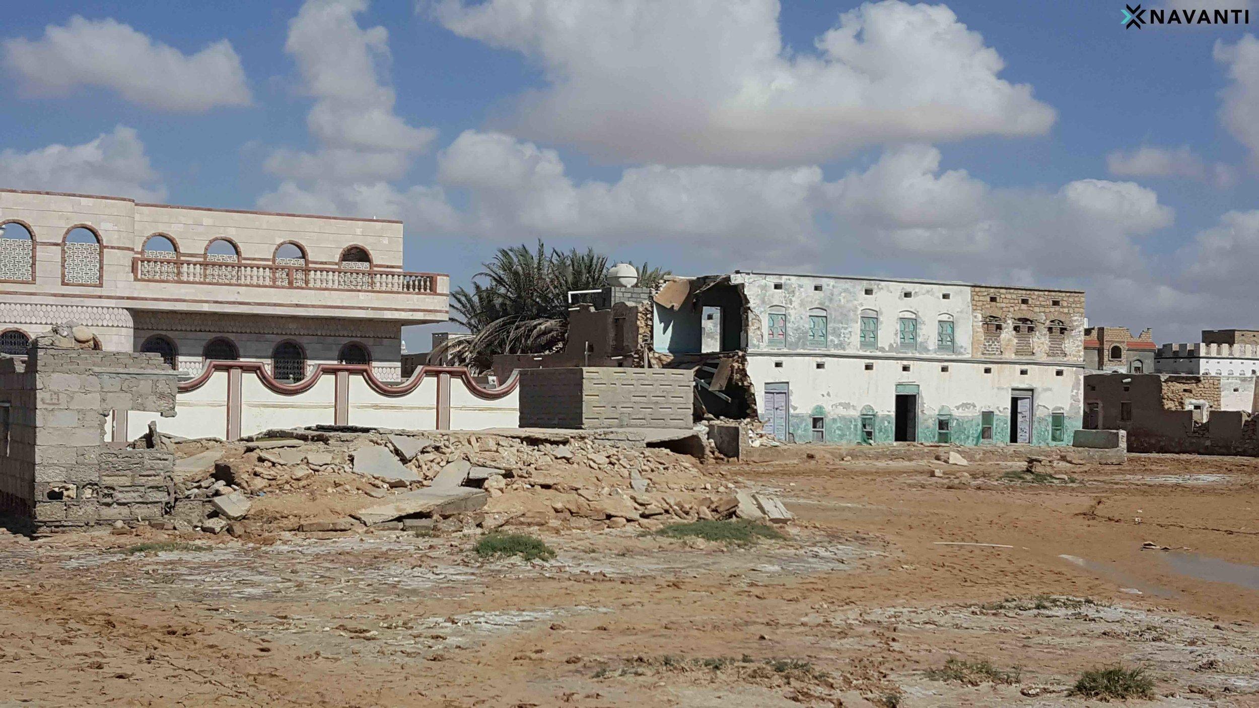 Houses in the town of Qishn, al-Mahra, damaged by Cyclone Luban. Source: Navanti