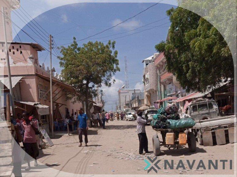 Civilians in a street in Kismayo, Lower Juba region