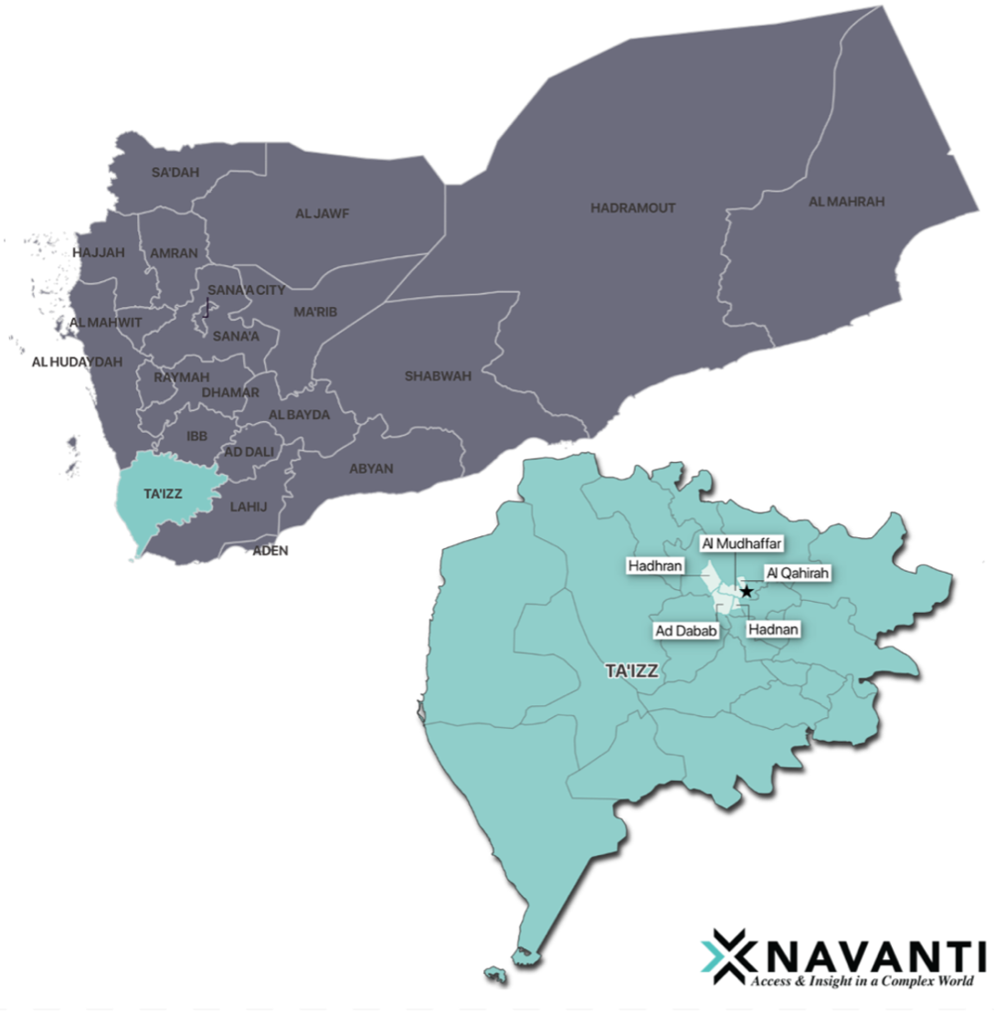 Map 2. Map of Ta'izz governorate and location of household interviews, Source: Navanti