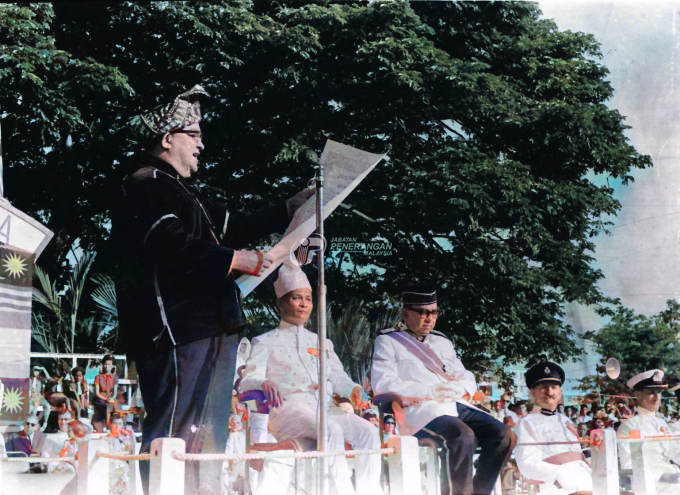 Tun Muhammad Fuad reading the pledge at the Independence Day celebration on 16 September 1963.