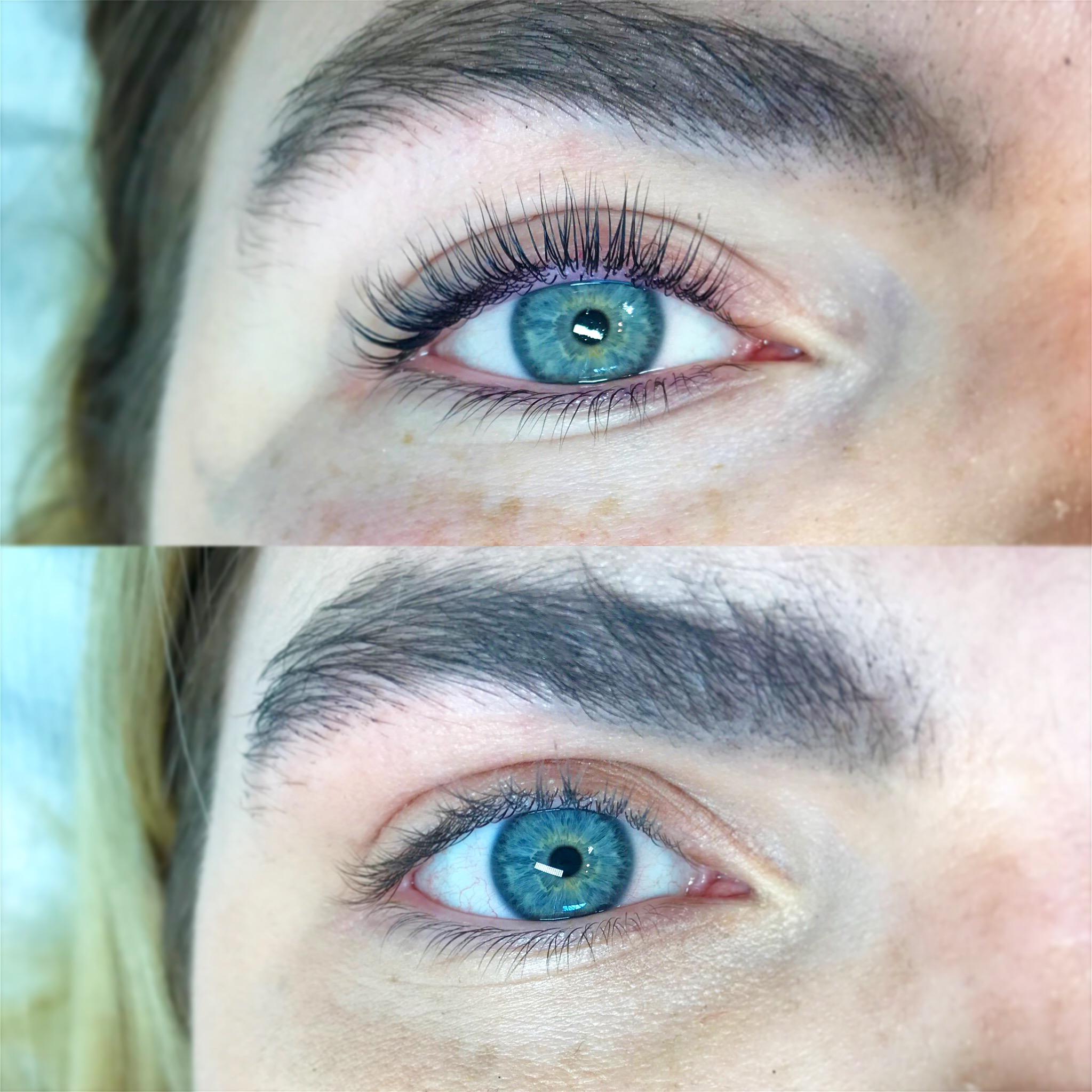 Før og etter vippeløft med farge