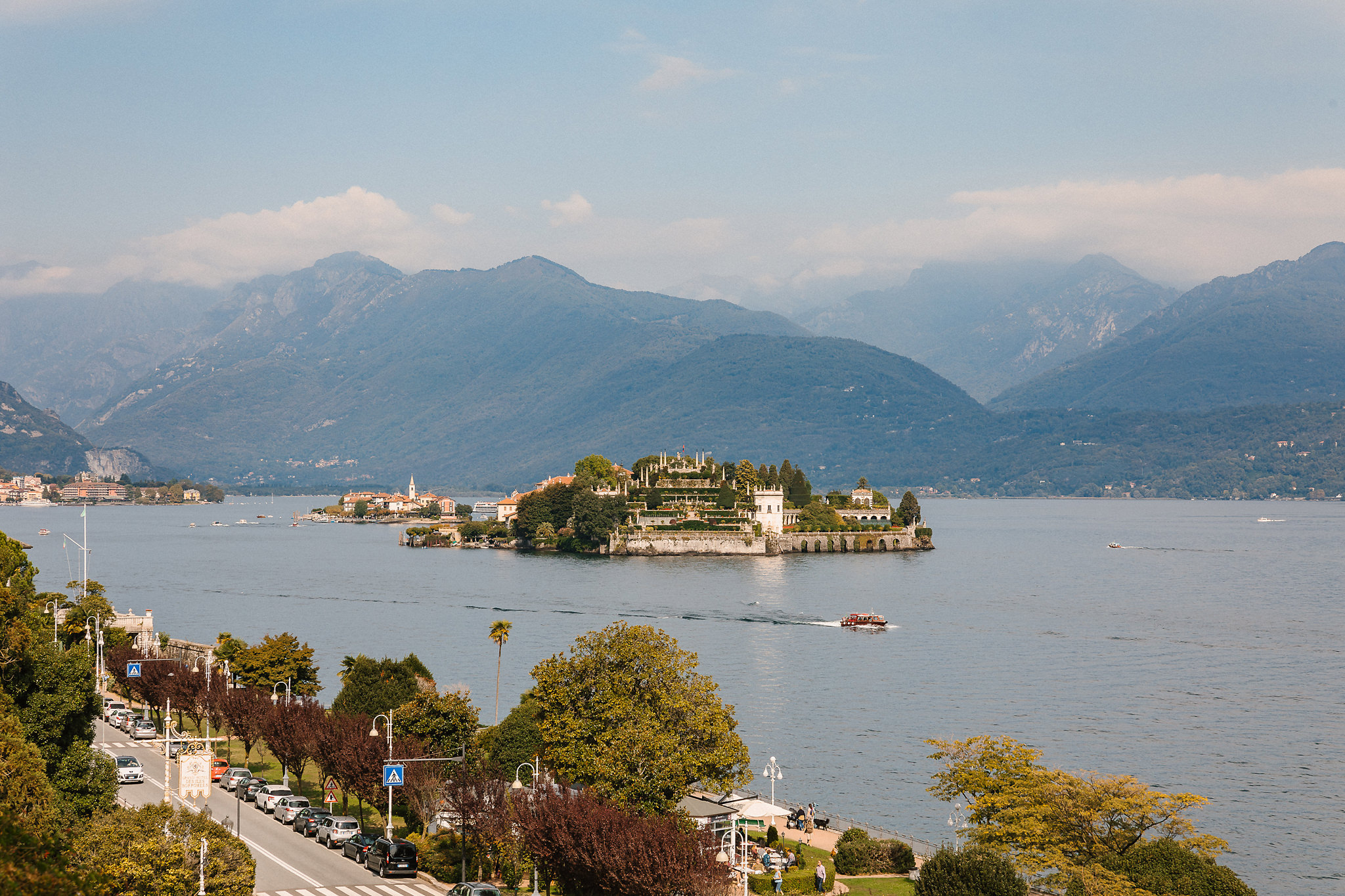 The wedding took place in the little picturesque town of Stresa, nestled among the Alps and along the beautiful Lakes of Maggiore.  The Hotel The Grand Hotel Borrommes is without a doubt the most beautiful hotel I have ever set foot in!!! The scenery from the moment you entered the town was simply breathtaking, not to mention the view from Orla's room which served as my office while I was here :) Orla couldn't have chosen a more beautiful location.