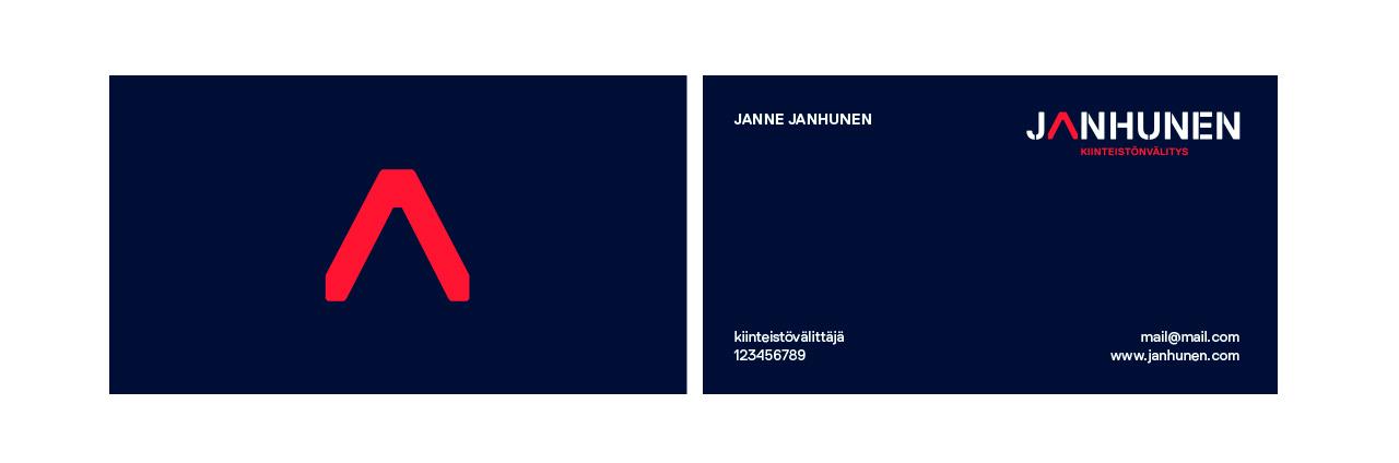 Uuden yrityksen graafinen ilme ja sen pohjalta tehdyt käyntikortit.