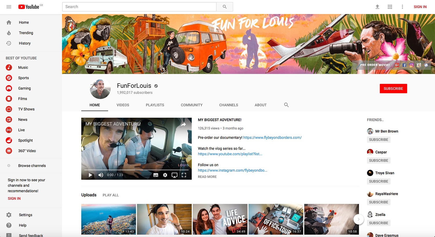 The 'Fun For Louis' YouTube home page, with banner artwork in situ.