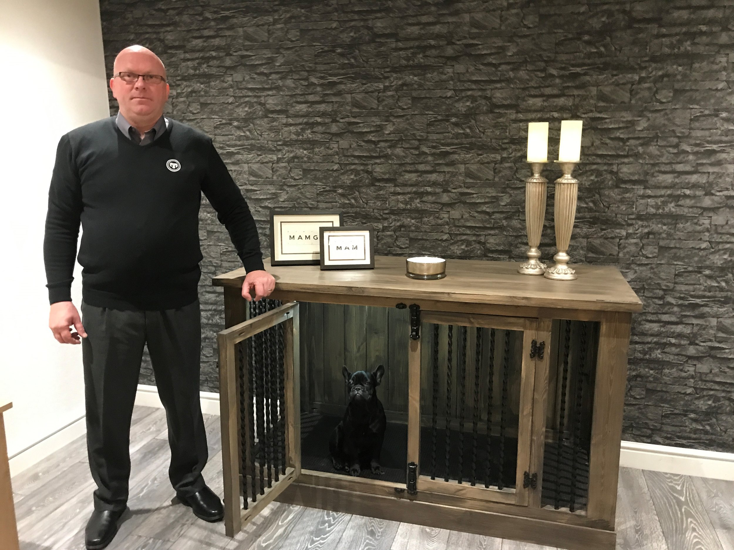 Mark & Buddy with our new range of indoor kennels