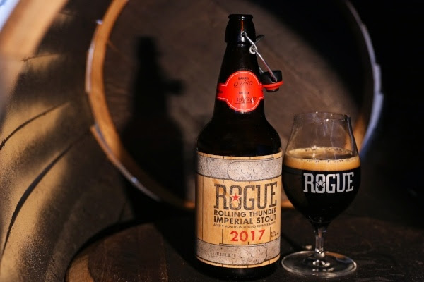 Rogue Rolling Thunder Imperial Stout inside a hand-charred Rolling Thunder Barrel