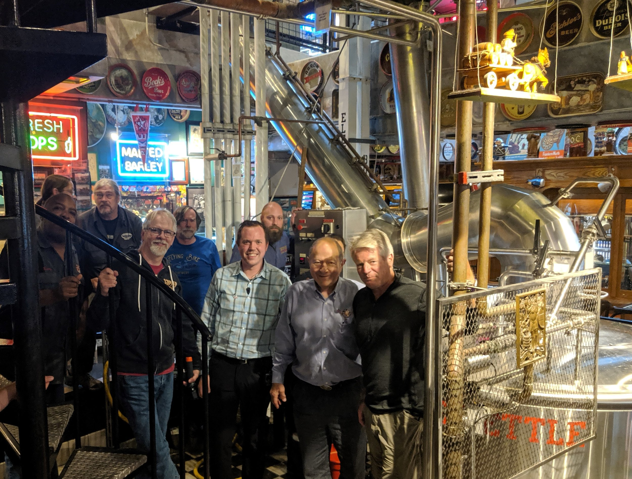 photo credit featuring Larry Rock, Bill Jenkins, Drew Cluley, Jason Parker, Kevin Forhan, Charles Finkel, Drew Gillespie, Dick Cantwell, and Adam Orrick courtesy Stasia Brewczynski (Pike Brewing Company)