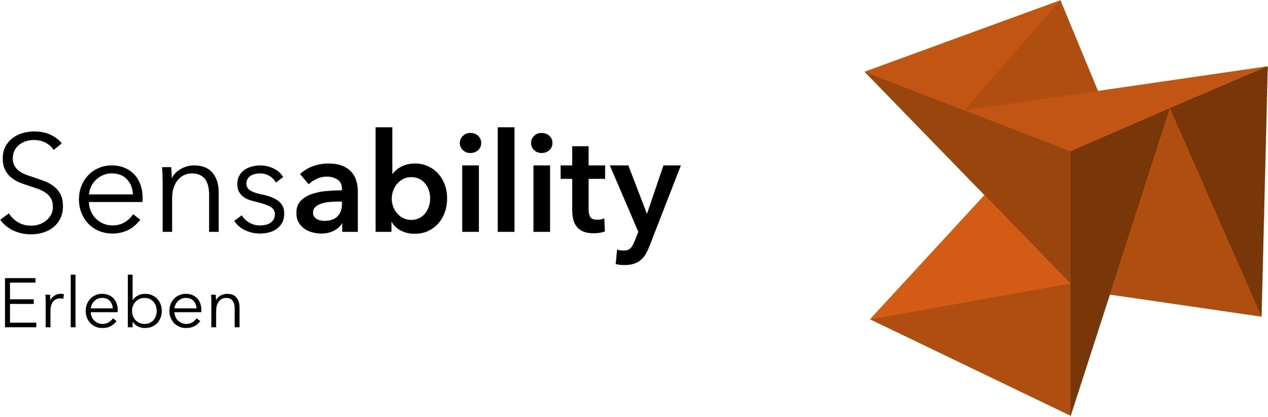 """Themen-Logo Erleben: Schrift """"Sensability Erleben"""" mit Würfel in der Farbe Orange"""