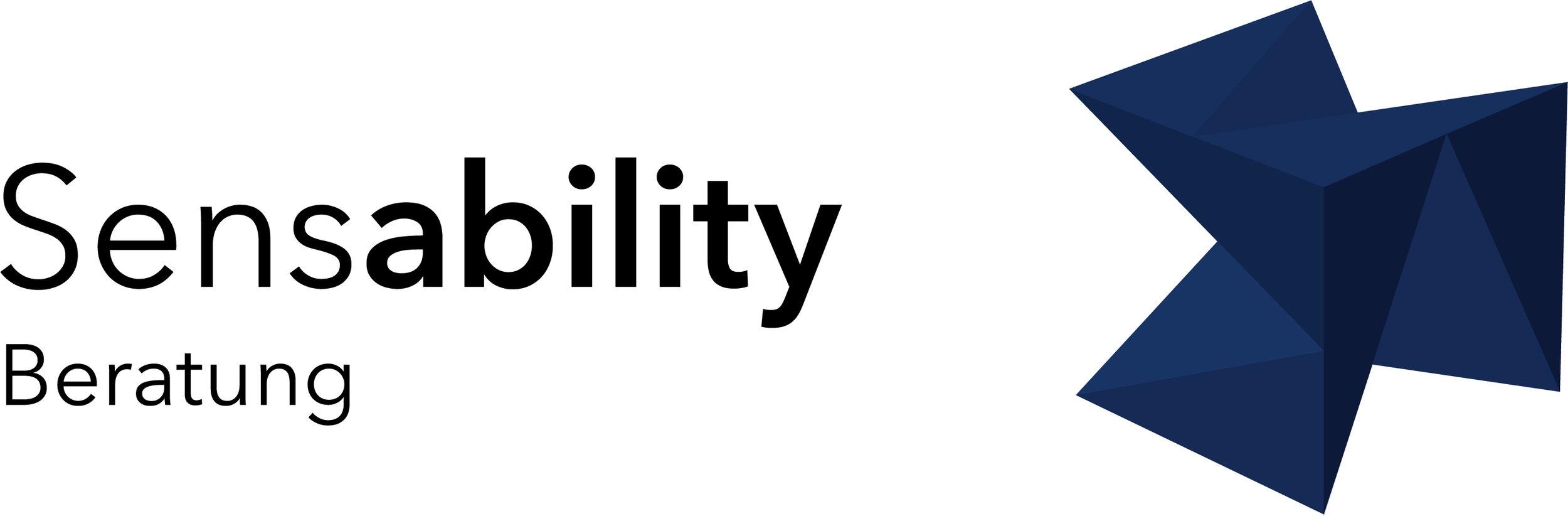 "Themen-Logo Beratung: Schrift ""Sensability Beratung"" mit Würfel in der Farbe Dunkelblau"
