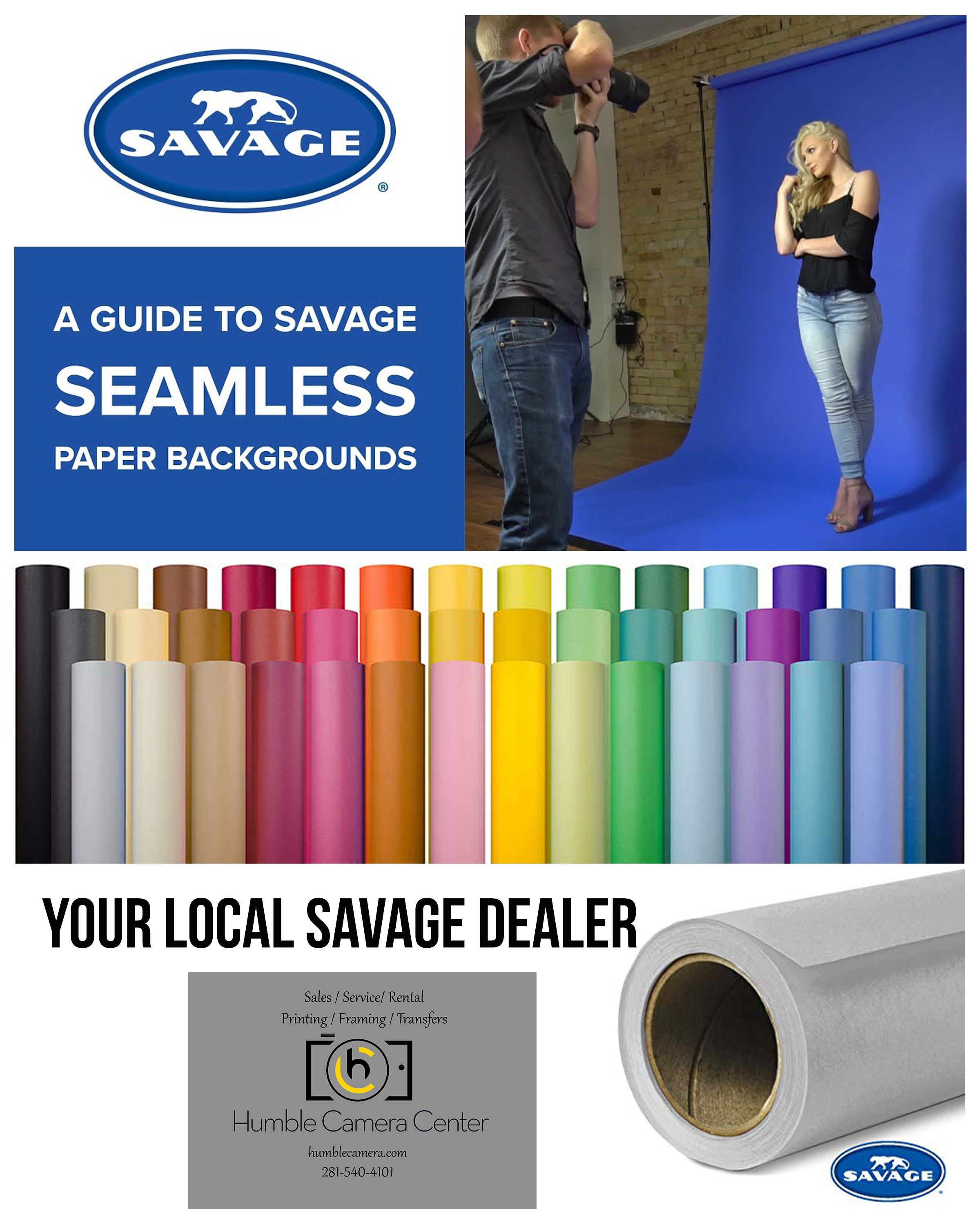 "Now stocking 107"" & 86"" seamless paper backgrounds"