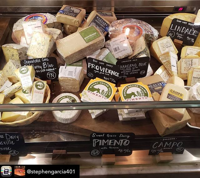 Nice selection of Southern Cheese Guild member's cheeses at @bellinaalimentari Repost from @stephengarcia401 using @RepostRegramApp - CHEESE!!! #cheese #bellina #poncecitymarket #sweetgrassdairy #boxcarr #goatladydairy #sequachiecovecheese