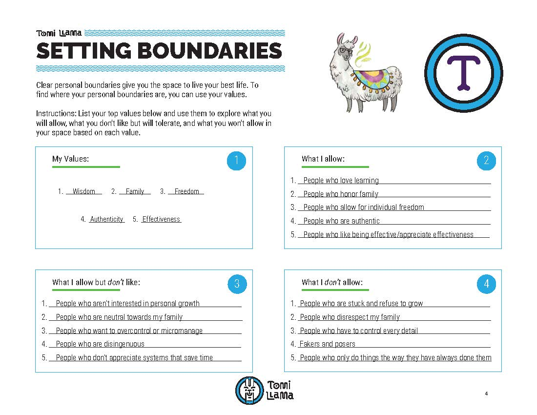 Completed Setting Boundaries Worksheet (click to enlarge).