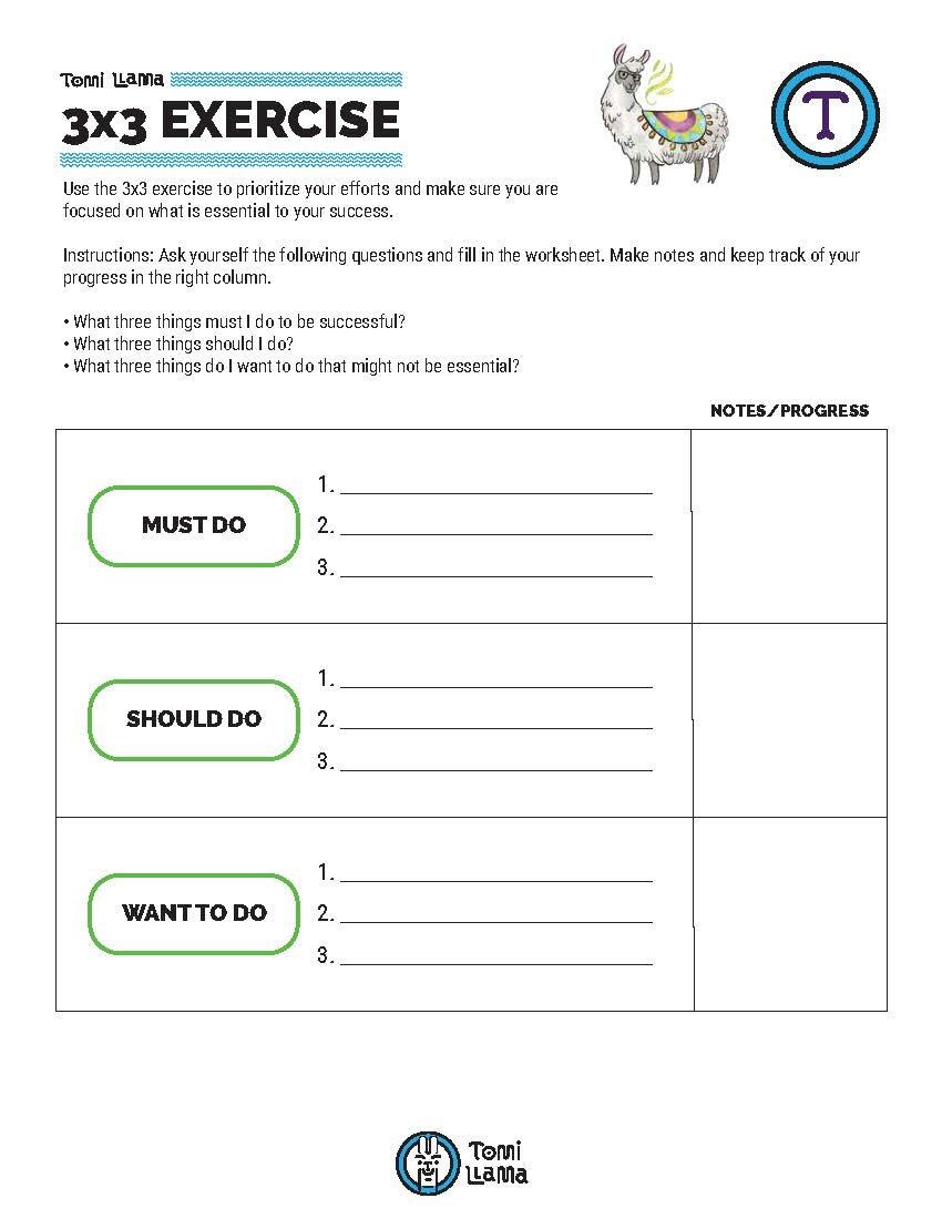 3x3 Exercise Priority Worksheet