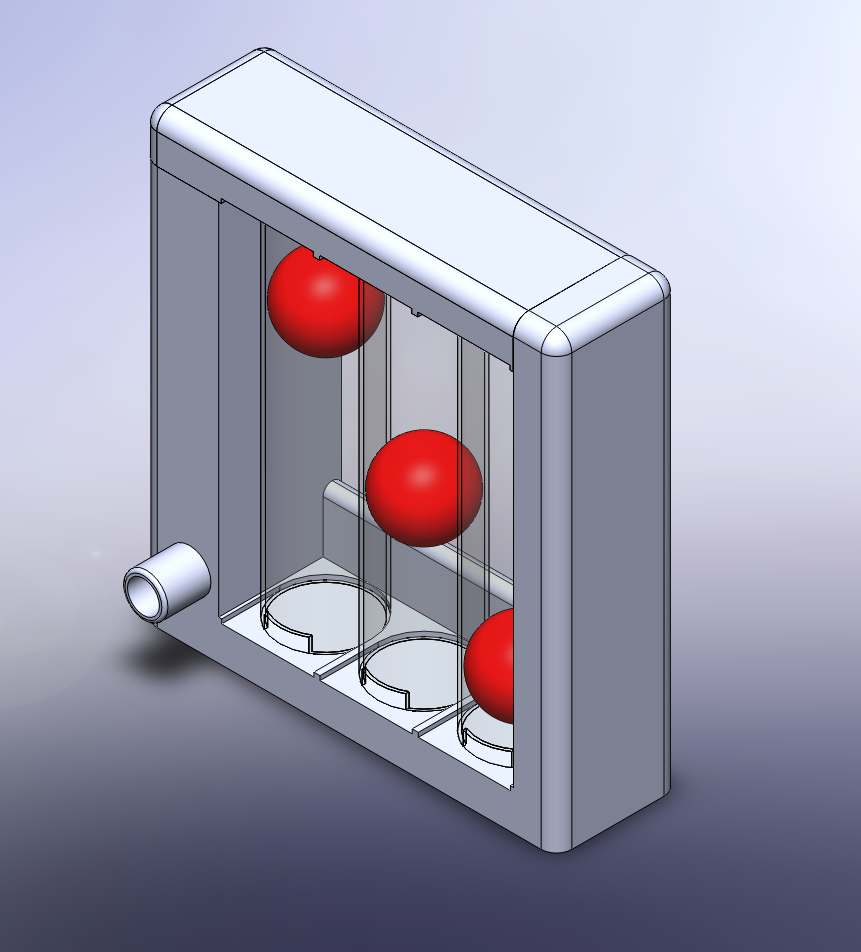 Triflow Incentive Spirometer - The incentive spirometer can be printed in four prints: the top, the bottom , the mouthpiece and the three balls. The top and bottom pieces fit together to provide an airtight spirometer body. The decreasing hole diameters from left to right in the top body piece provide an increased flow rate required to lift the ball. Take a slow deep breath IN through the mouthpiece to life the three balls.The device makes use of three 50 mL syringes cut into 120mm length cylinders which can be easily slid into place. Small slits (3 mmx10 mm) are also cut into the bottom of the cylinders. The device makes use of a 15 mm ID respirator tubing that connects the mouthpiece to the bottom spirometer body slot.