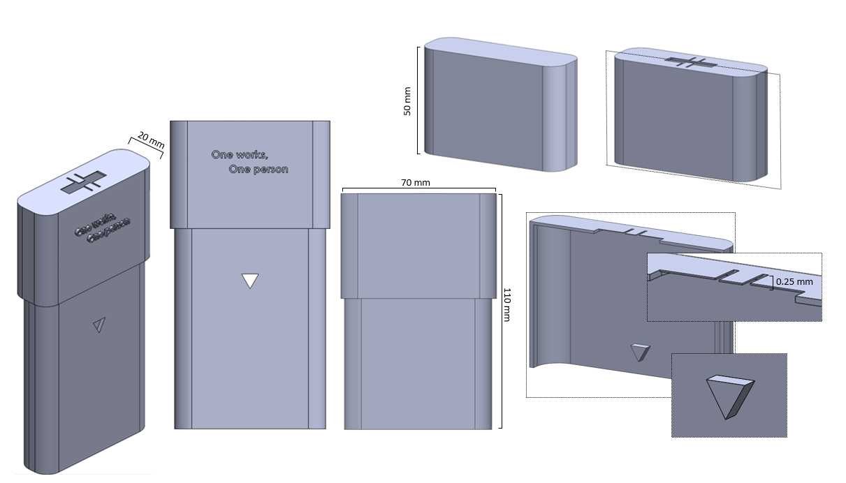 """The inverted triangles located on the lid and bin itself allow for a dual-height lockable fit. The overall dimensions of the bin are 70 x 20 x 110 mm when fully closed. The flexible safety barriers at the opening of the lid allow for the insertion of syringes and sharps, without allowing them to fall out. The two options for a cover allow for a completely sealed bin or a continuous use option with the opening, available with the """"One works, One Person"""" message - with signifies one is safely using a needle exchange."""