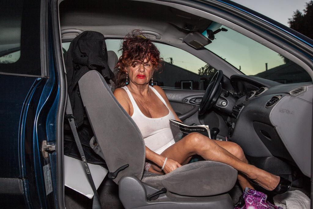 Anne sitting in my car, Ocean Beach, CA 2015