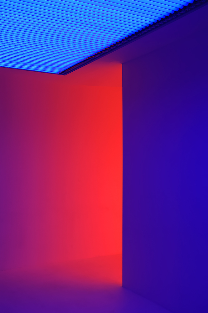 Red and Blue Wall with Ceiling
