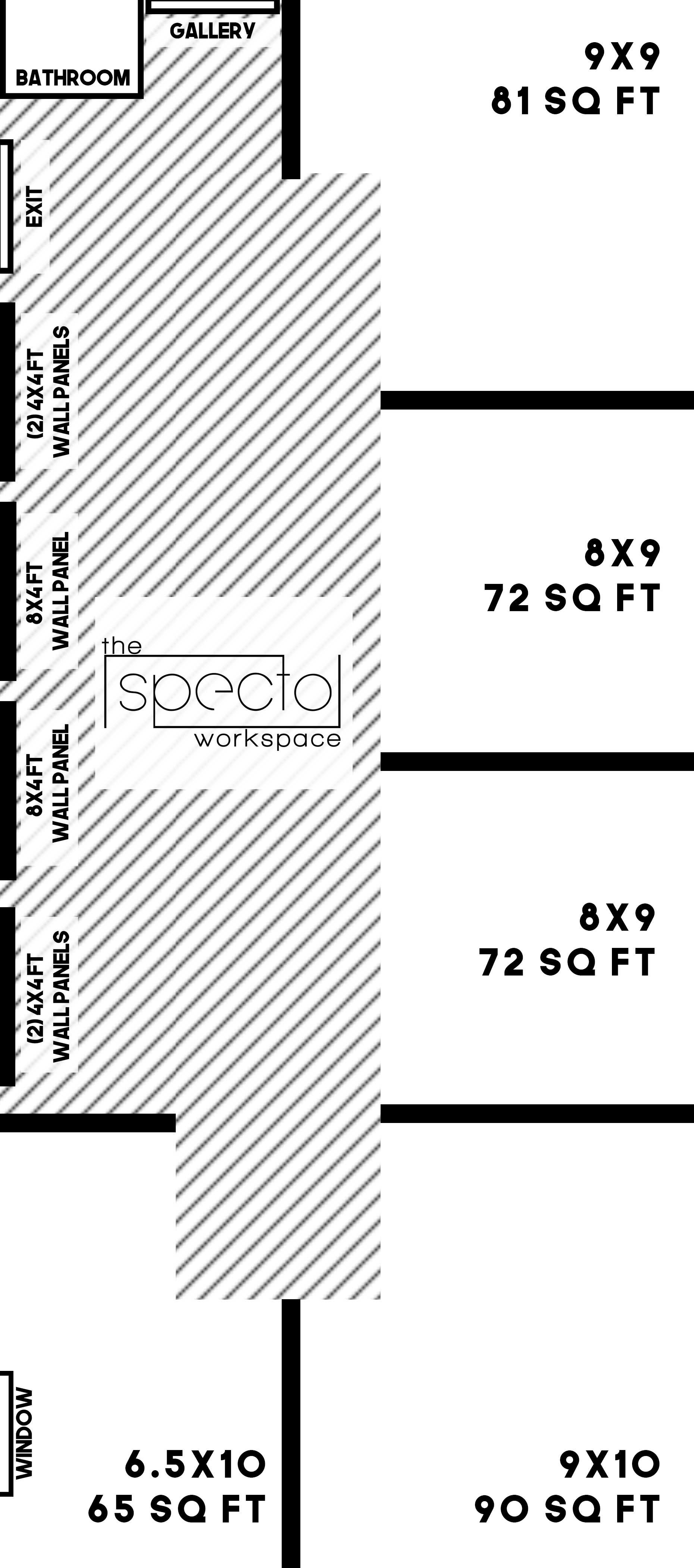 The Specto Workspace Layout, All Spaces Currently Available.
