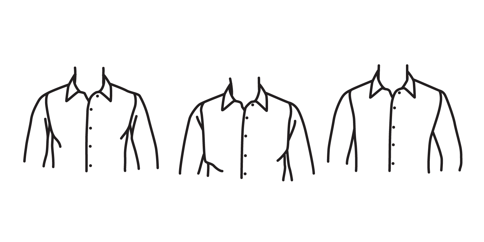 The armhole should not be so high at to pull fabric (left), but it should not be so low as to appear baggy (center). It should leave only a quarter to a half-inch of fabric  (right).