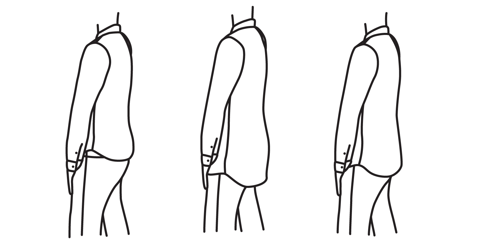 A shirt meant to be tucked in shouldn't be so short that it does not cover the seat (left), but it should not be so long that it extends well below it (center). It should just cover the seat (right).
