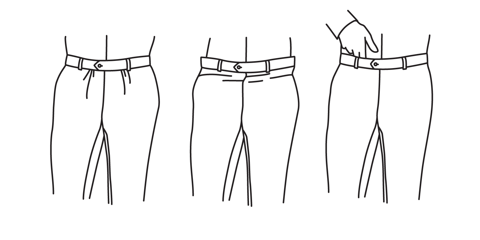 The waist should not be tight enough to strain fabric (left), but it should not be loose enough to appear baggy (center). It should leave enough room to insert one to two fingers (right).