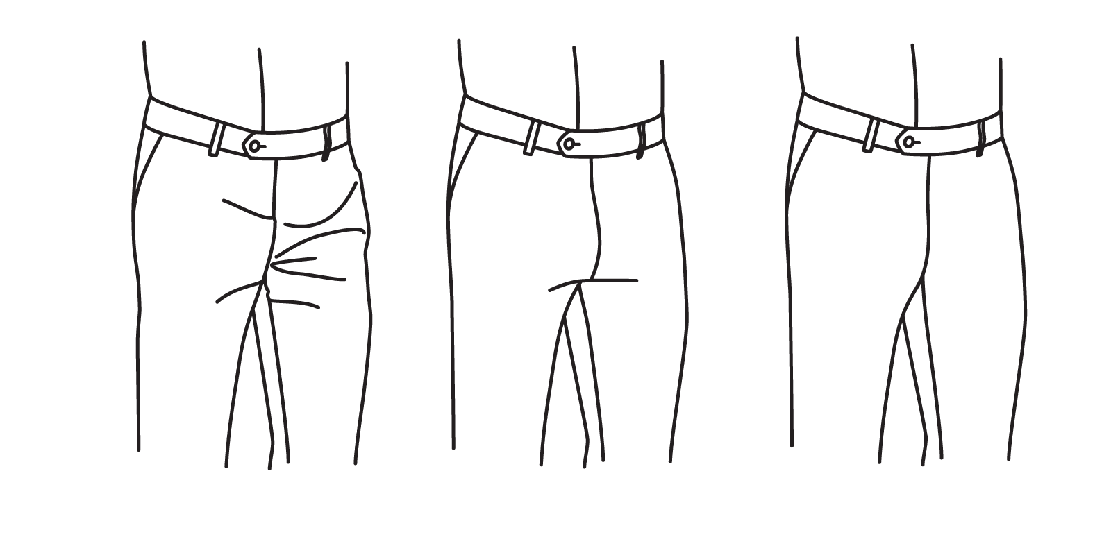 "The rise should not be so high as too cause ""whiskering"" (left), and should not be so loose as to leave excess fabric (center). It should fall flat while standing (right),"