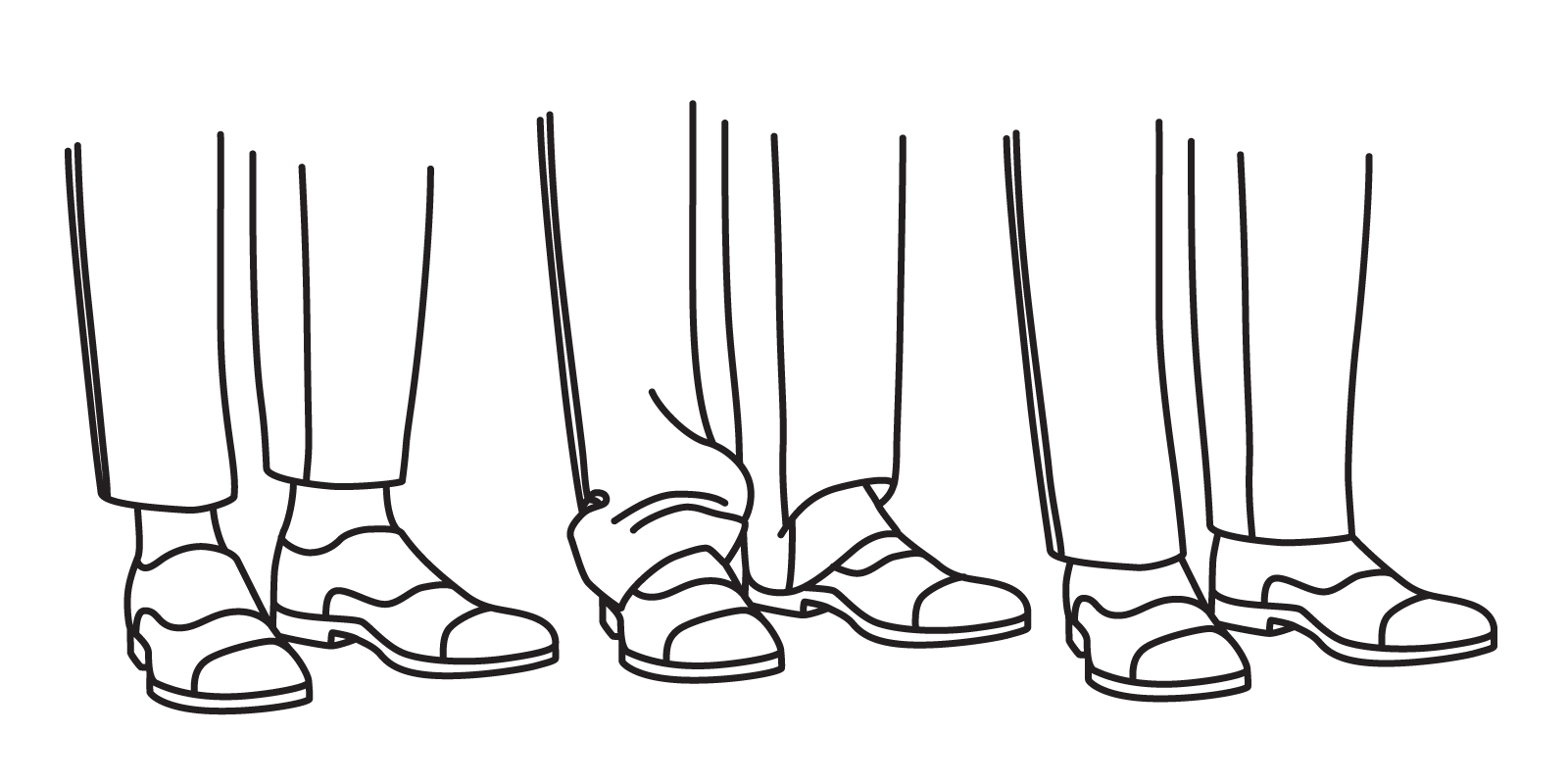 "A trouser leg that is too short will end an inch or more above the shoe (left) A trouser leg that is too long will ""puddle"" with excess fabric. A trouser leg should end where the laces being (right)."