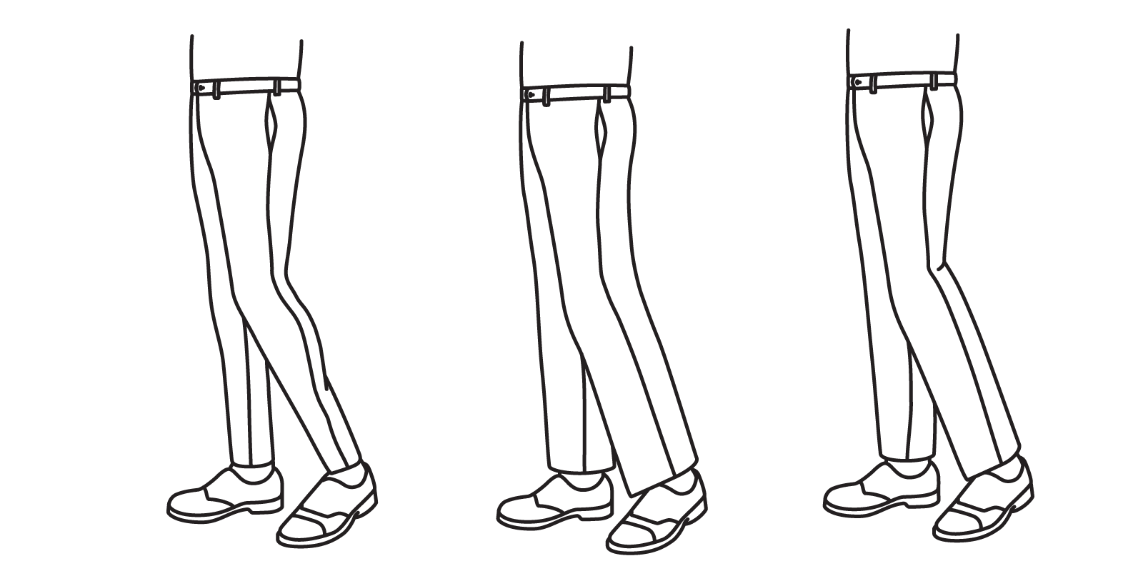 A taper that is too slim will strain against the calf (left), while a taper that is too loose will hide the shape of the leg entirely (center). The taper should be slimmer than the thigh without causing strain (right)