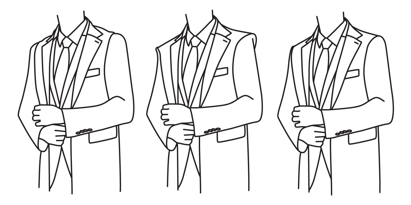 The shoulders of the coat should not end before the shoulders of your suit jacket (left), or extend over them (center). They should be aligned with shoulders of your suit jacket (right).