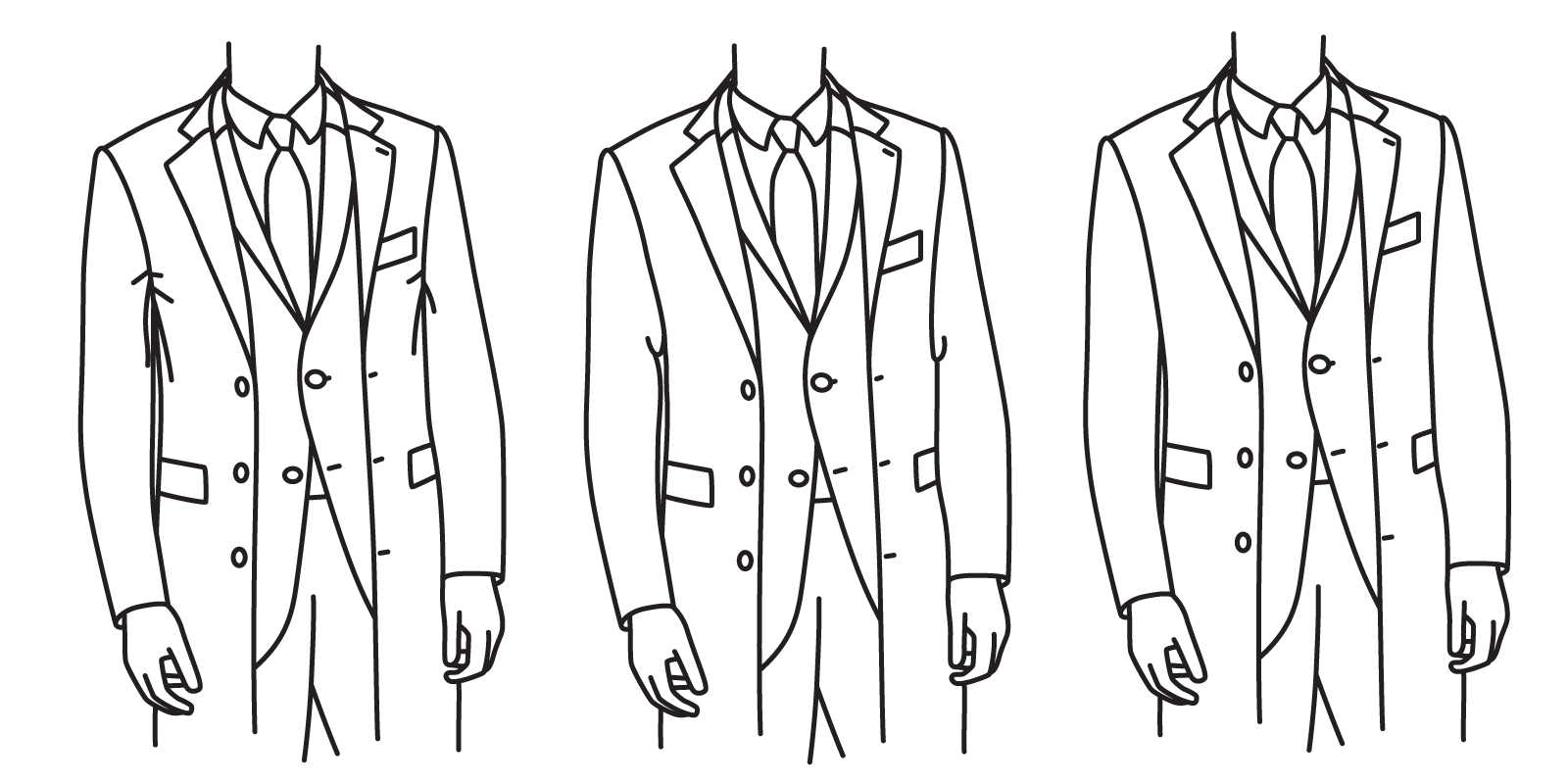 The armhole should not be so high as to cause pulling (left), or so low as to appear baggy (center). It should leave about one inch of excess fabric (right).