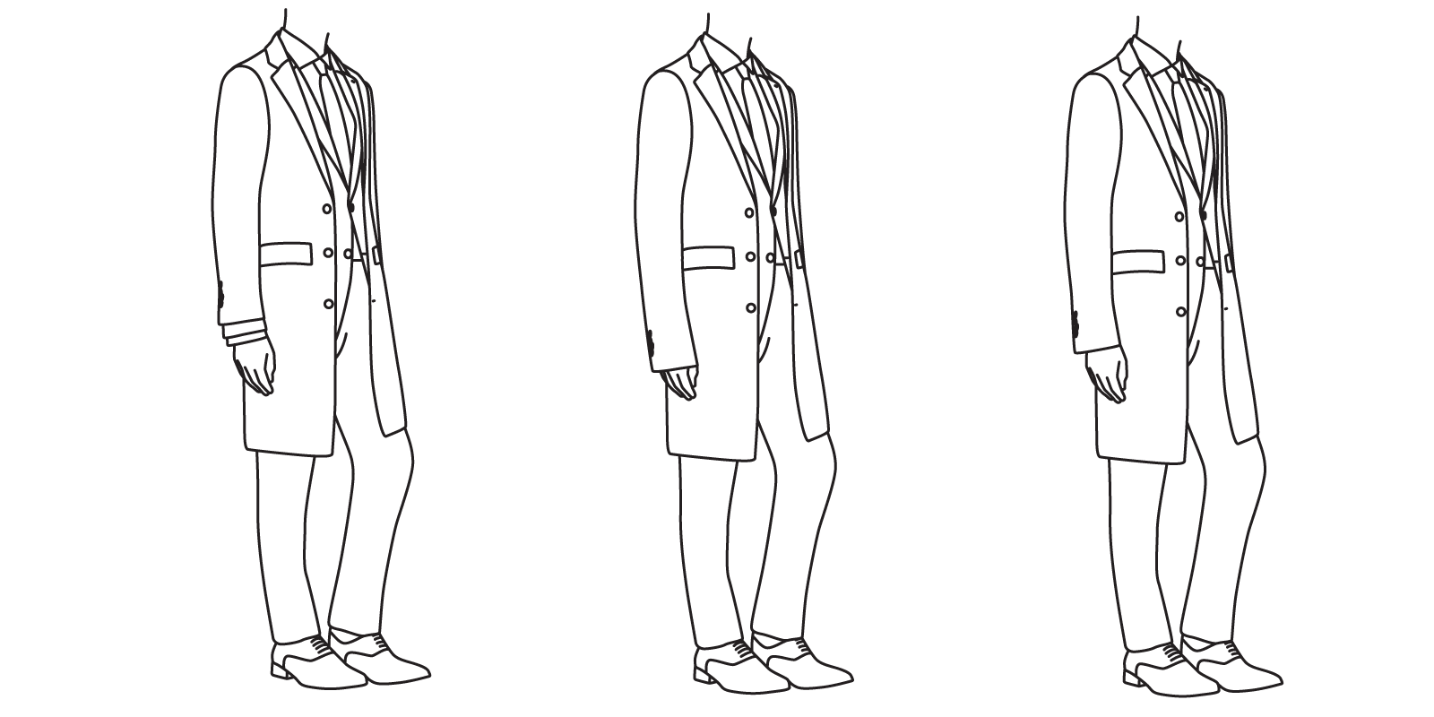 The coat sleeve should not be short enough to expose the suit jacket sleeve (left), and it should not be long enough as to extend beyond the wrist (center). It should just cover the suit jacket sleeve (right).