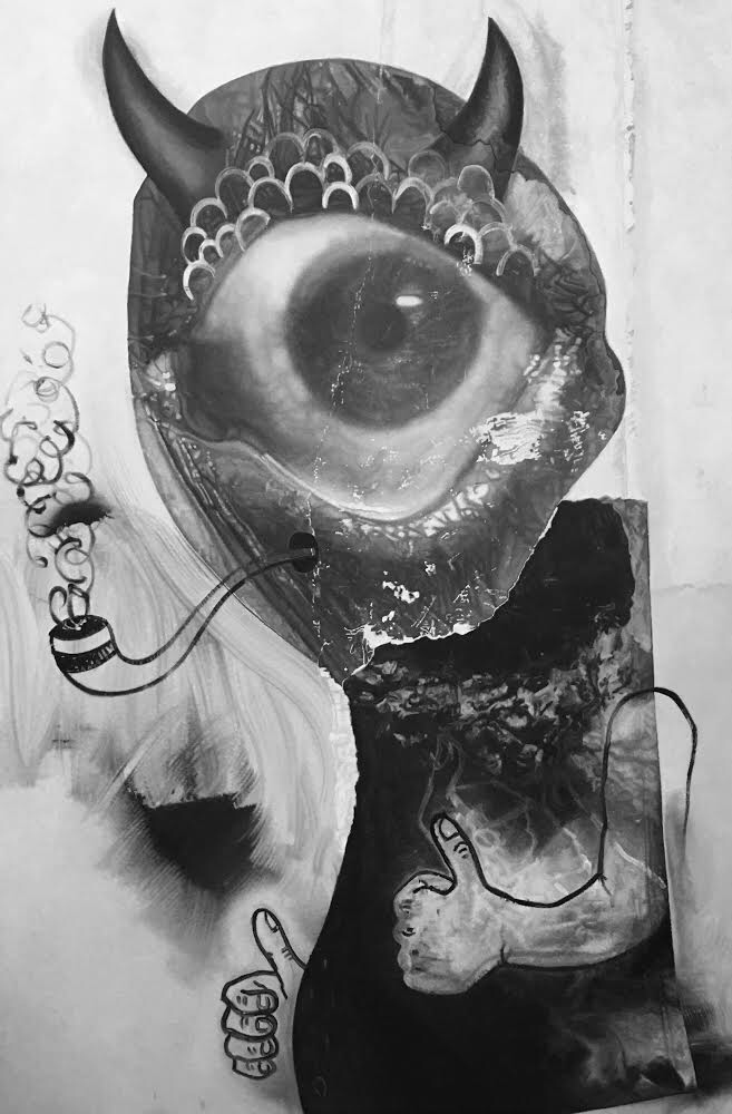 """Pipe-Smoker (Cyclops) 2017 oil on canvas 72""""x48"""""""