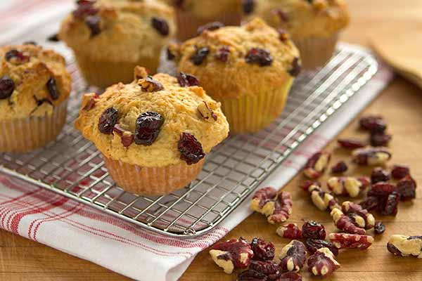 Cranberry Walnut Muffins - Pre-baked muffins make great camp food. Apart from being delicious, they travel well, are endlessly versatile (switch out the cranberry for chocolate chips or any dried fruit and the walnuts for sliced almonds or pistacchios), and make a filling breakfast or snack.