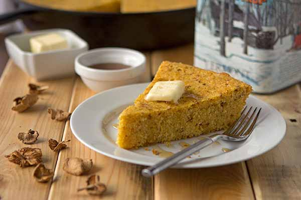 Candy Cap Maple Cornbread - Unique among wild mushrooms, the candy cap's maple syrupy aroma makes it a fantastic choice for flavoring baked goods. This cornbread is sweetened with just a touch of additional maple syrup added to bring out flavor. For best results, make this cornbread at home and heat as needed in a hot skillet over the fire.