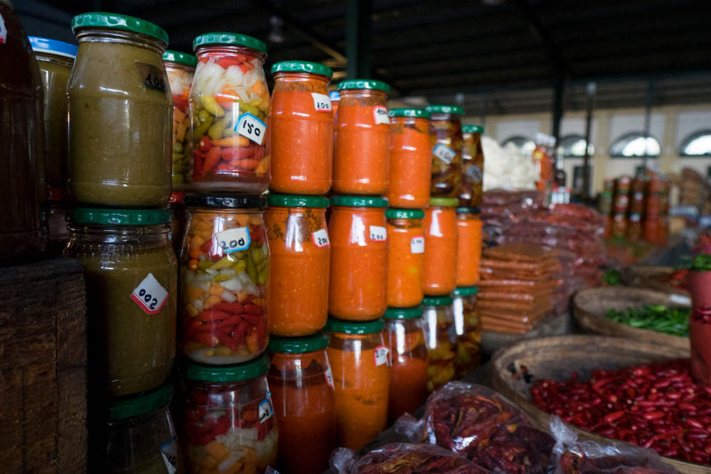 Piri Piri Sauce in a market in Mozambique