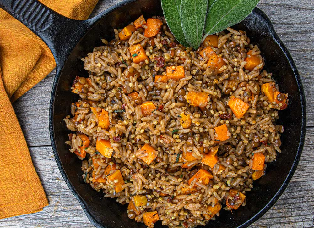 5. Heritage Blend Pilaf with Butternut Squash, Brown Butter, and Sage - Sweet roasted butternut squash and rich brown butter make a delicious autumnal addition to our Organic Heritage Medley, a wholesome, savory blend of organic rice, lentils, and millet.