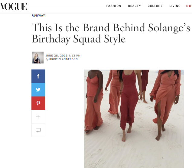Vogue     online, June 28, 2016. This Is the Brand Behind Solange's Birthday Squad Style