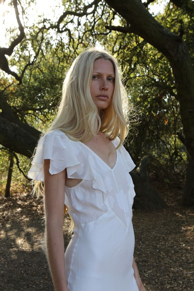 KIRSTY HUME in Flutter Sleeve Chiffon Bodice Gown