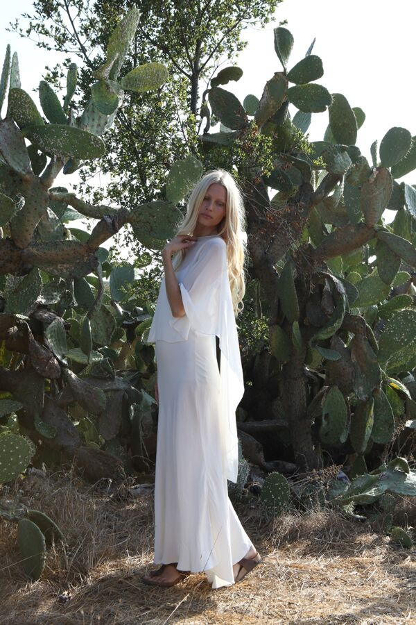 KIRSTY HUME in Bias Train Dress and Short Cape Shawl