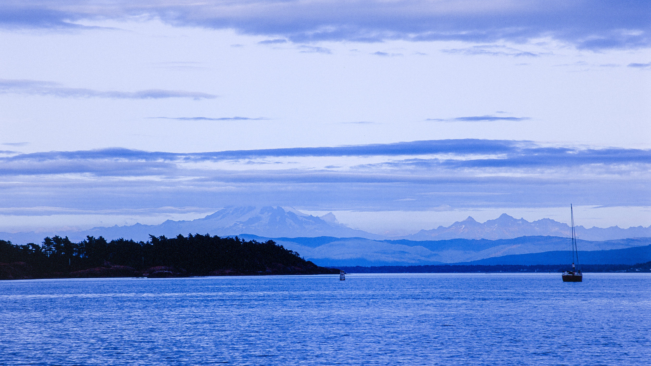 Mt. Baker from Echo Bay, Sucia Island, Washington. Fuji Velvia RVP 100