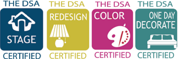I am certified in home staging, interior redesign, color consultation, and interior decorating by   The Decorating and Staging Academy.