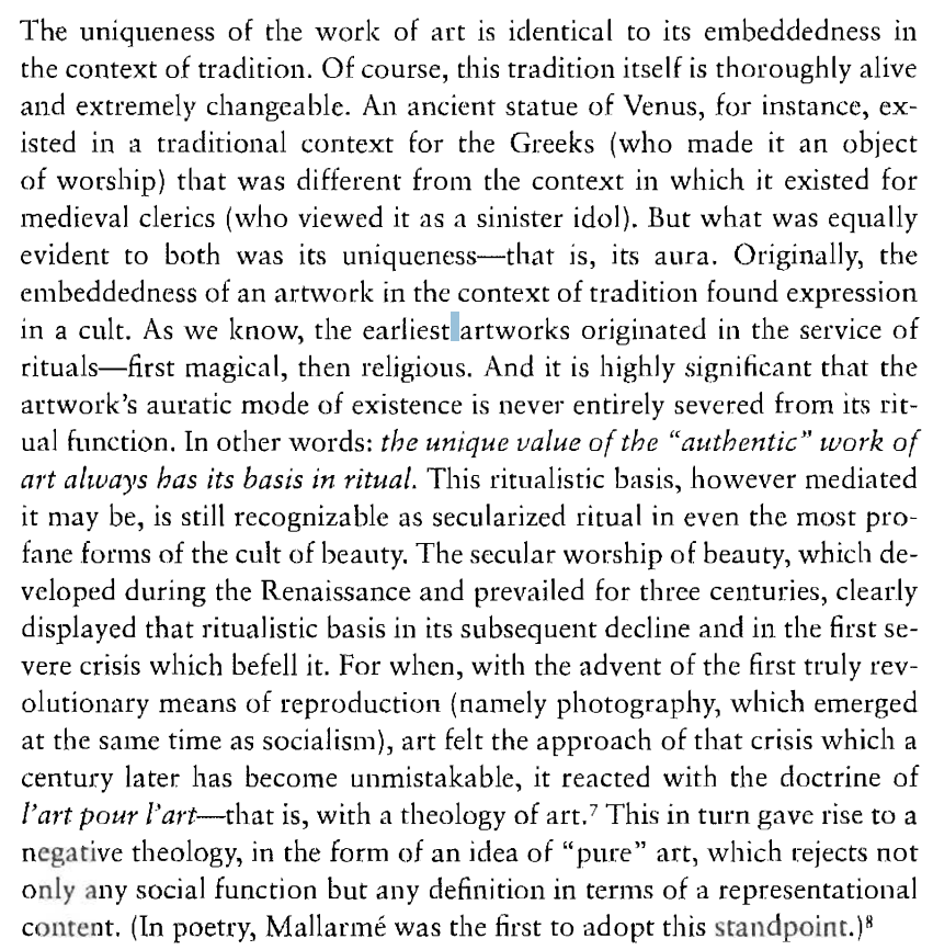Excerpt of Art in the Age of Mechanical Reproduction, Walter Benjamin (1936)