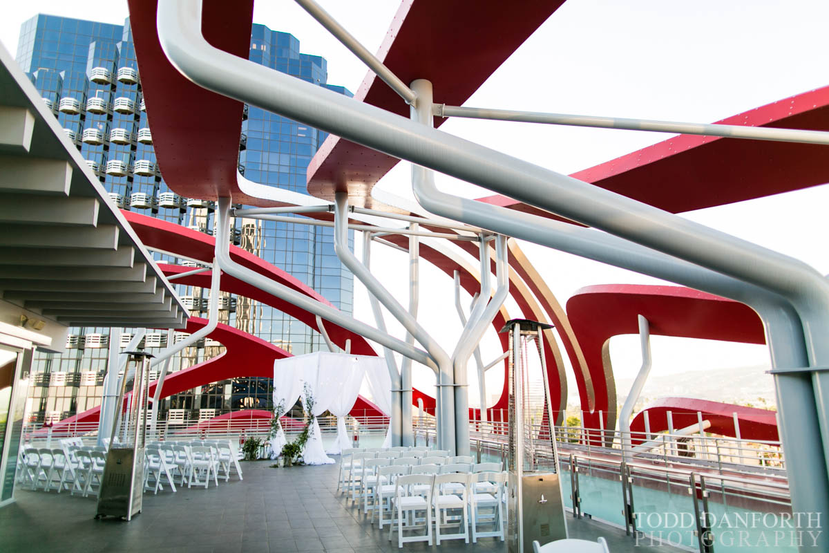The Petersen Automotive Museum ribbons over the William E. Connor Penthouse with a wedding venue set up.