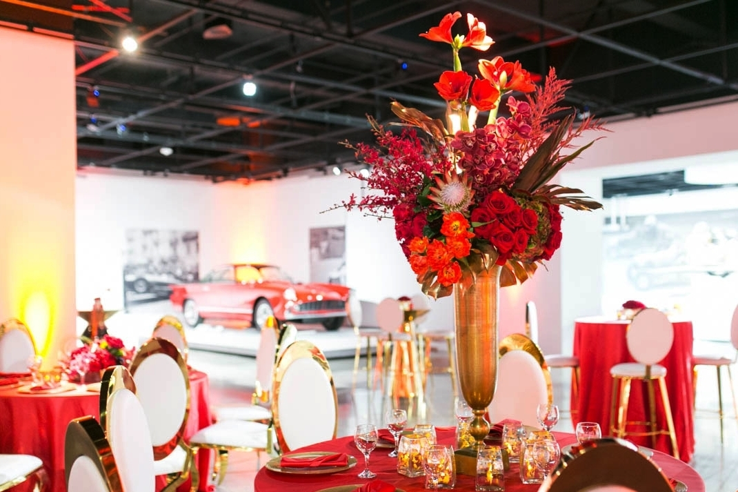A table setting on the second floor of the Petersen Automotive Museum.