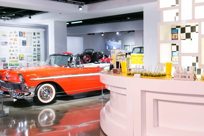 An event set up on the third floor of the Petersen Automotive Museum.