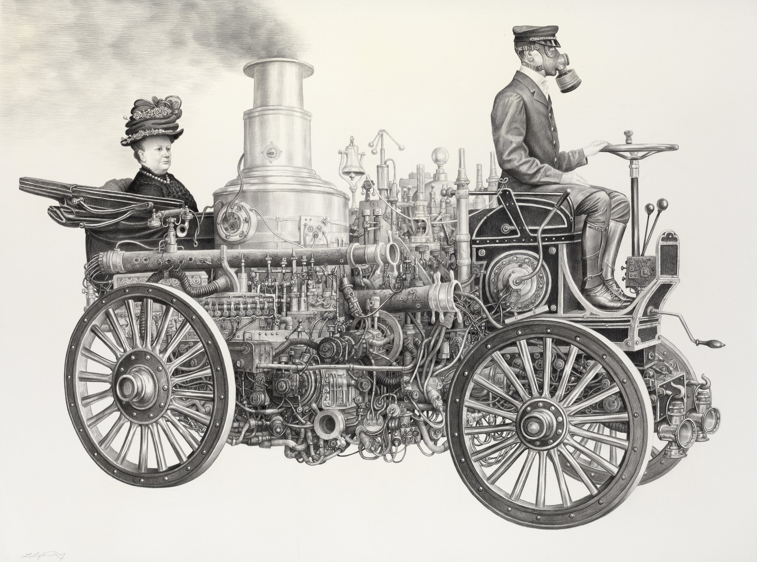 Laurie Lipton   Motoring  , 2009 Charcoal and pencil on paper Courtesy of Billy Shire, La Luz De Jesus Gallery