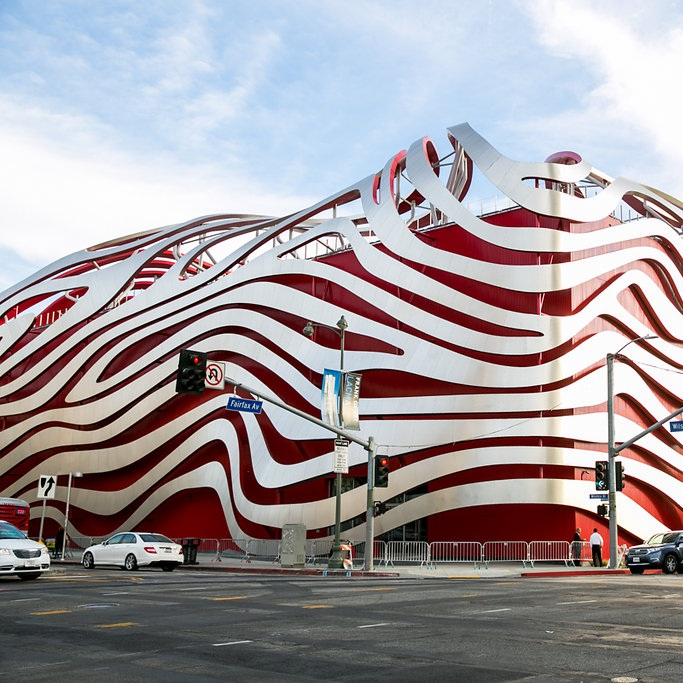 The current exterior of the Petersen Automotive Museum.