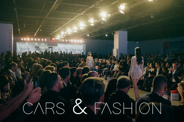 Models walking down a runway surrounded by an audience during NYFW.
