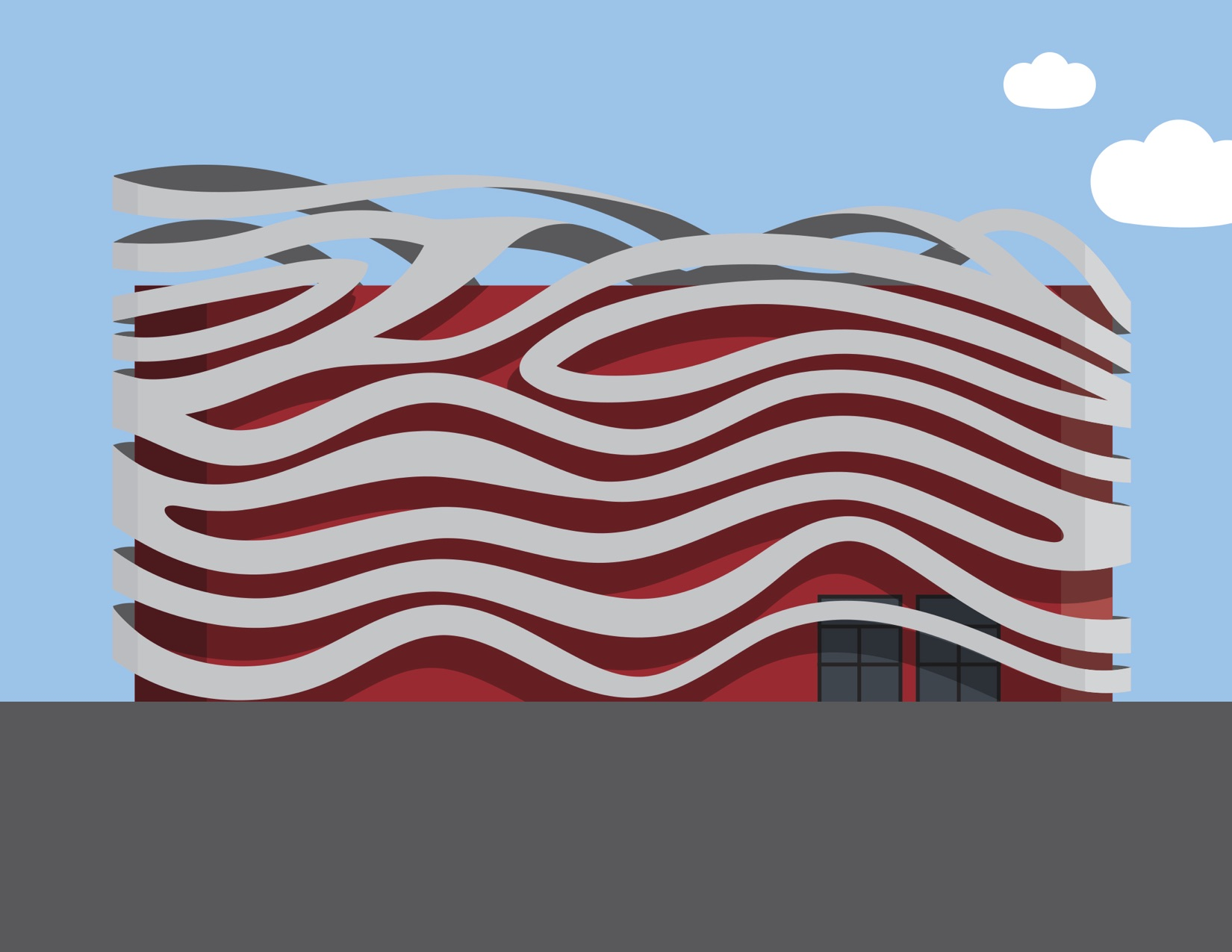 The exterior of the Petersen Automotive Museum with the red lights behind the ribbons.